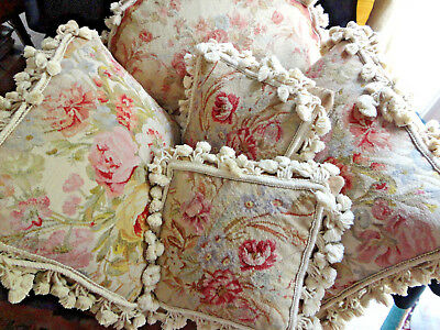 Vtg Designer Needlepoint Pillow-Down -Gorgeous Sweet Flowers,muted Tones14X13