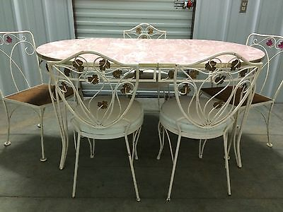 Mid Centurry WOODARD PATIO Table Wrougth Iron Pink Formica  5 Chairs 2 leaf