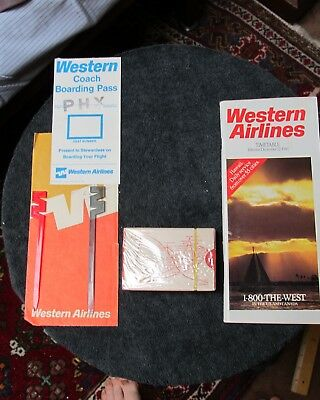 Western Airlines Paper Timetable (1986), new deck of cards..more