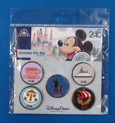 Disney Park Pin Booster Set Dated 2018 Attraction Icons w/ Walt & Mickey Mouse