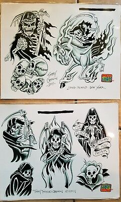 NOS production (2) tattoo flash 2011 timmy cronin nyc traditional:  skull reaper