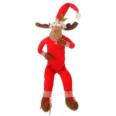 "New! 30"" Posable Sitting Red Santa Moose Elf Decorations Christmas Raz 3529139"