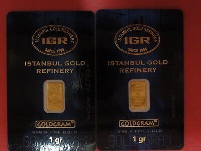 Gold Bar 999.9 pure Istanbul Gold Refinery 1 Gram each 2 Bars