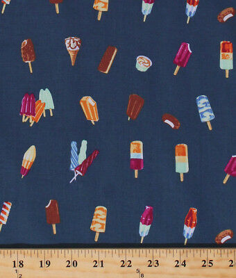 Ice Cream Cones Popsicles Treats Blue Cotton Fabric Print by the Yard D673.52