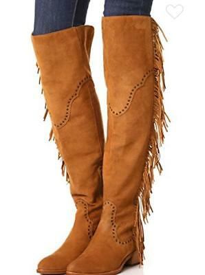 79319dde73a New  578 FRYE RAY FRINGE BROWN TAN OTK OVER THE KNEE TALL LEATHER BOOTS 8 M