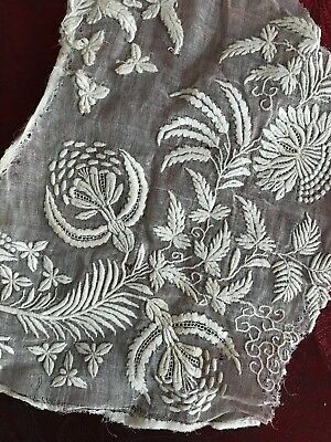 Gorgeous ANTIQUE EMBROIDERY on MUSLIN FOR APPLIQUE  (lot 6)