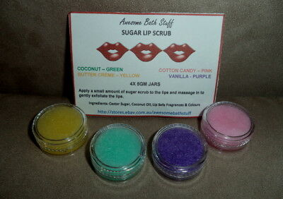 SUGAR LIP SCRUB 4 Pkt Handmade in Australia by Certified Aromatherapist