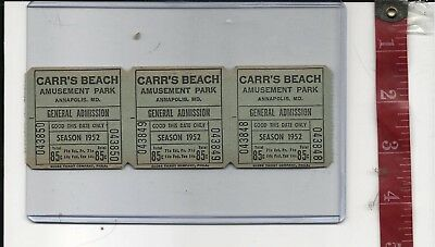 Vintage lot 1952 tickets Carr's Beach Admission tickets Annapolis Md. FREE SHIP