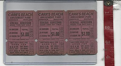 Vintage lot 1.00 tickets Carr's Beach Admission & beverage tickets Annapolis Md.