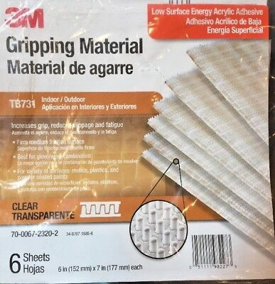 3M Gripping Material 6 in x 7 in sheet, 6 sheets/bag TB731-Clear