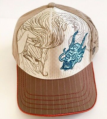 4346498c58462 New Rare Goorin Bros 1333 Minna Embroidered Dragon Beige Baseball Cap Mens  Large