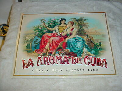 Rare Metal Sign La Aroma De Cuba Cigars A Taste From Another Time Bar Smoke Shop