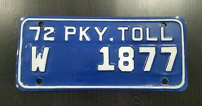 1972 Connecticut Wilbur Parkway Toll License Plate