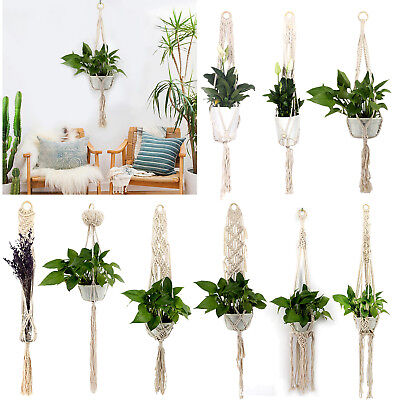 Garden Macrame Plant Hanger Flowerpot Holder String Hanging Rope Wall Art Decor