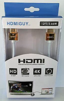 12 ft UHD 4K HDMI Cable White/Gold Retail Box