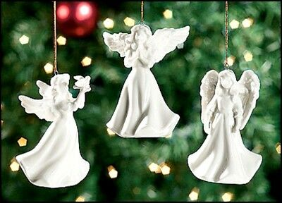 3 Assorted White Porcelain Angel Christmas Tree Ornaments NEW! 3.5""