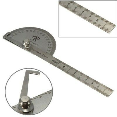 Stainless Steel 180 degree Protractor Angle Finder Arm Rotary Measuring Ruler TW
