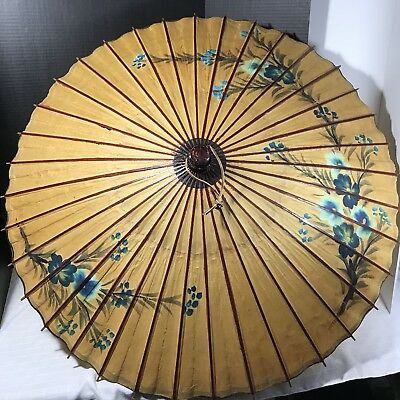 Japanese Parasol Umbrella Rice Paper Lacquered Bamboo Vintage