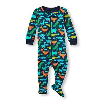 NWT The Chilrens Place Dinosaur Boys Footed Stretchie Pajamas Sleeper 2T 3T 4T 5