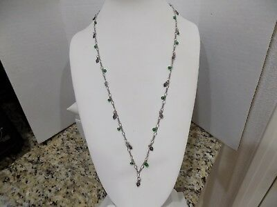 """Vintage AMERICAN EAGLE 925 NECKLACE Sterling Silver Hearts Green Glass Beads 29"""""""
