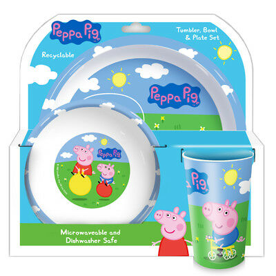 Peppa Pig George And peppa 3- Piece Plate Bowl and Cup Dinner Tableware set