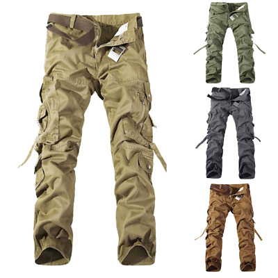 Green Khaki Black Men's Cargo Pants Combat Camouflage Army Military Trousers