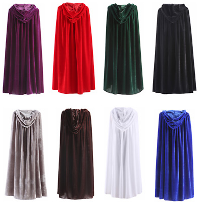 AU Halloween Hooded Velvet Cloak Cape Medieval Costume Witch Wicca Vampire Robe
