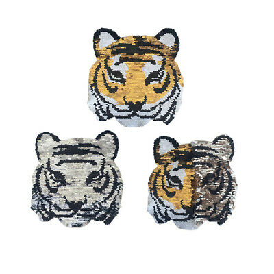 tiger changecolor sequins patches embroidered reversible badge fabric appliqueSC