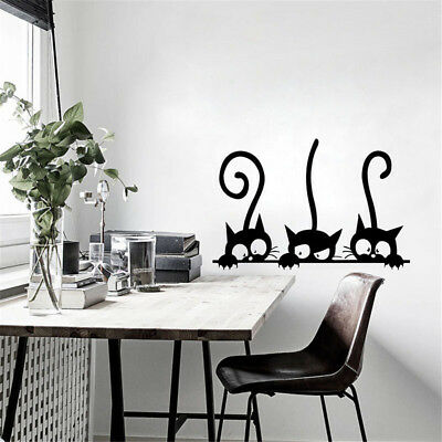 removable three black cat wall stickers art decal mural diy kids bedroom decorSC