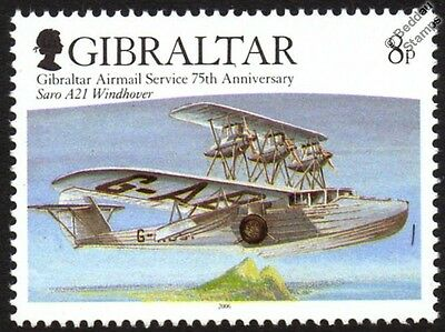 Saunders Roe SARO A.21 WINDHOVER Flying Boat Seaplane Aircraft Stamp (Gibraltar)