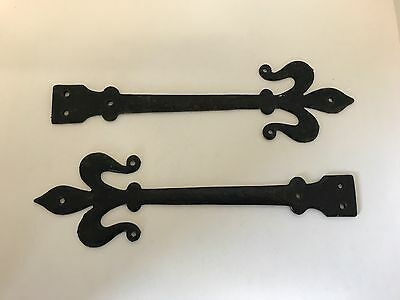 A Pair of Decorative Antique Cast Iron Door Straps Gothic Spear Heads