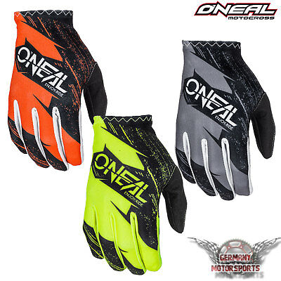 Oneal Matrix Burnout Kinder Motocross Handschuhe Grau Gelb Orange Cross Offroad