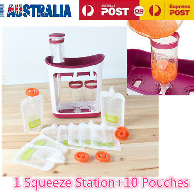 Infant Baby Feeding Food Squeeze Station Fruit Maker Dispenser Storage Kit DIY