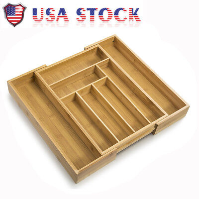 NEW Bamboo Expandable Cutlery Tray & Drawer Organizer with 8 Compartments BS