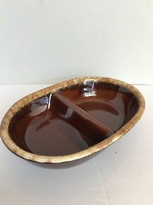 Hull Pottery Brown Drip Divided Serving Dish HP 11""