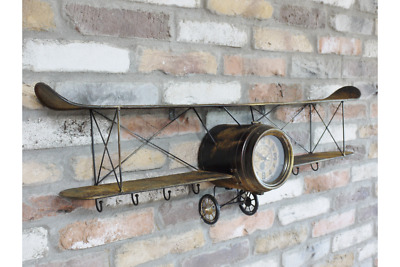 ON TREND Vintage AEROPLANE Plane Biplane CLOCK Floating WALL SHELF with HOOKS