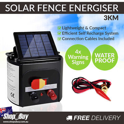 3km Solar Power Electric Fence Energiser Charger 0.1J Farm Pet Animal