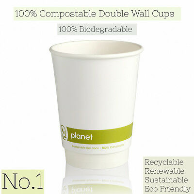 White Biodegradable & Compostable Double Wall Paper Cups with Biodegradable Lids
