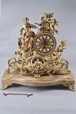 FRENCH Antique Figural Gilt Mounted Onyx Mantel Substantial Clock Timepiece