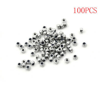 100pcs M3 x 0.5mm Stainless Steel Nylock Nylon Insert Hex Self-locking Nuts DSUK
