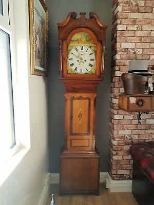 Antique Oak & Mahogany Llanelly Longcase Welsh Grandfather Clock