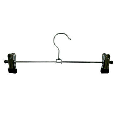 Pack of 10 Chrome Adjustable Clip Hangers 30cm for Trousers, Skirts, Shorts (Q3)