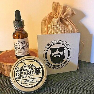 Beard Mustache Oil and Balm Gift Combo Unscented Organic Beard Care Products USA