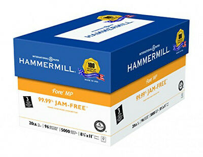 Hammermill Fore MP Paper 20# 8.5x11, 3 Hole Punch 96 Bright 5000 Sh/10 Ream Case