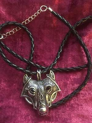 Norse Wolf Pendant Necklace Fenrir Viking Nordic Silver Celtic Leather Biker