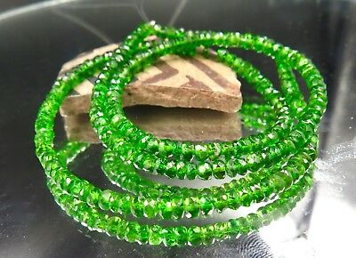 """AAAAA VIBRANT GREEN CHROME DIOPSIDE FACETED BEADS 2.9-3.4mm 45cts 18"""" STRAND"""