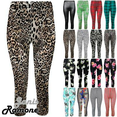 Womens Printed 3/4 Length Jogging Running Trousers Bottoms Capri Leggings Pants