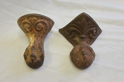 2 Different Antique Cast Iron Claw Foot Tub Legs Feet Ball & Eagle Claw Talon