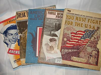 Lot of 5 Antique & Vintage Sheet Music - Patriotic Music - 1906 to 1944
