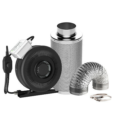 "VIVOSUN 4"" inch Inline Duct Fan w/ Controller Air Carbon Filter 8' Ducting Combo"